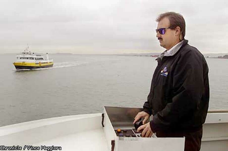 Jason Covell, who's a ferry captain with the Blue and Gold fleet running from Vallejo to San Francisco. Jason started out in operations at an investment bank in San Francisco but what he really wanted to do was be a ferry captain. So he quit banking in order to work up through the ranks. He started out as a bartender on the ferry, then moved up to deckhand and so forth. He's also a photographer whose photos of his ferry route are on his web site: www.jetplayer.com. by Vince Maggiora Photo: VINCE MAGGIORA