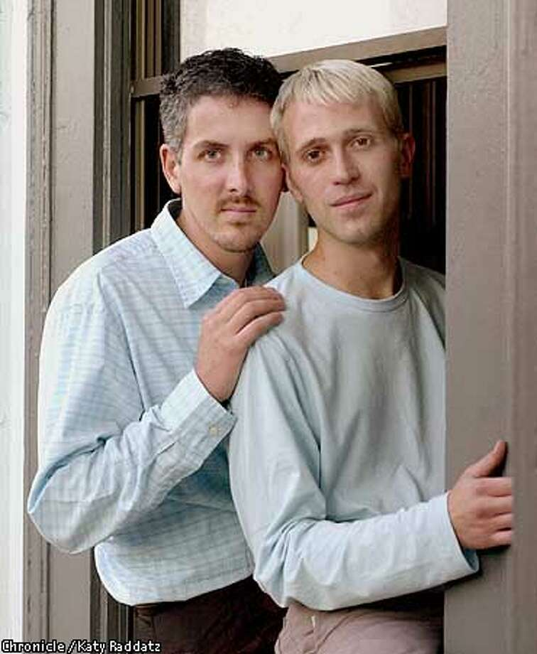 Photo by Katy Raddatz--The Chronicle James DeVinny (light hair) and his boyfriend John Barnette (dark hair) at their home in SF. Story about how gays cannot fight, cannot give blood, cannot donate organs--how CAN they help their country? Photo: KATY RADDATZ
