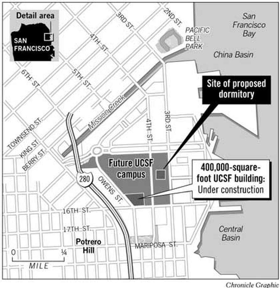 Site of Proposed Dormitory. Chronicle Graphic