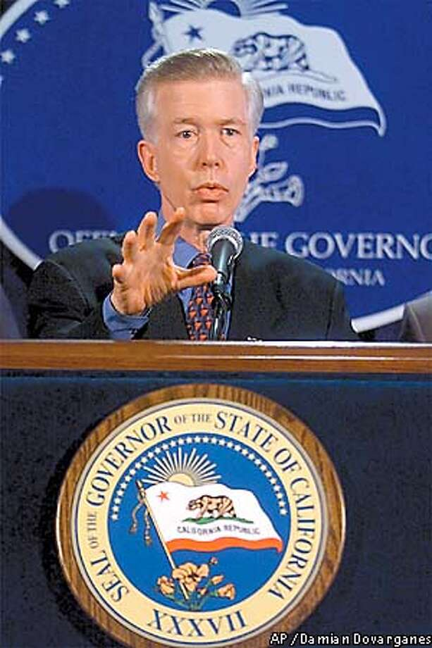 "California Gov. Gray Davis gestures during a news conference in Los Angeles, Thursday, Nov. 1, 2001 where he stated that terrorists may be targeting four California bridges for an attack in the next week. Law enforcement officials have ""credible evidence"" that terrorists are plotting a rush-hour attack on the Golden Gate Bridge or Bay Bridge, both in San Francisco, the Vincent Thomas Bridge at the Port of Los Angeles, or the Coronado Bridge in San Diego. The attacks were planned between Friday and Nov.9, Davis said. Security around the bridges has been heightened and involves personnel ranging from the U.S. Coast Guard to the California Highway Patrol. (AP Photo/Damian Dovarganes) Photo: DAMIAN DOVARGANES"