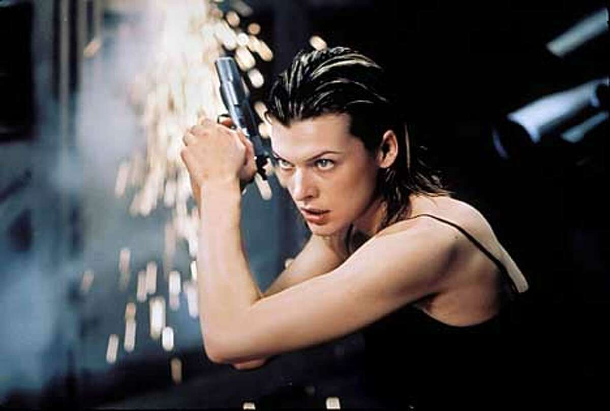 Milla Jovovich as Alice in Resident Evil.