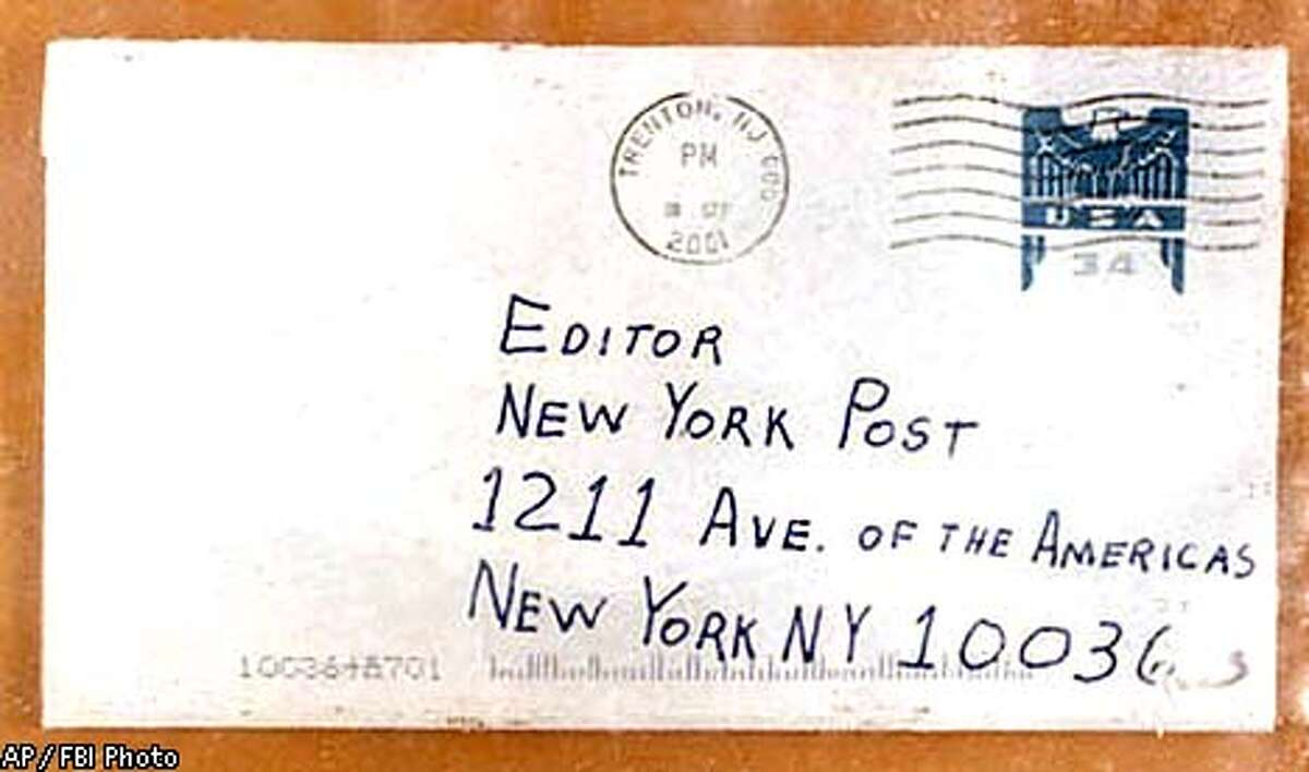 The 2001 anthrax scare began on Sept. 18, 2001, when letters containing anthrax spores were mailed to news outlets and the offices of two U.S. senators. This letter was sent to the New York Post.