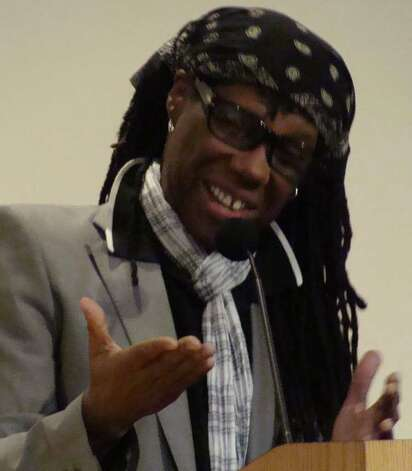 Music producer, songwriter and composer Nile Rodgers talks about his new memoir, ìLe Freak: An Upside Down Story of Family, Disco & Destiny Le Freak,î  at the Westport Public Library on Monday night. Photo: Meg Barone / Westport News freelance
