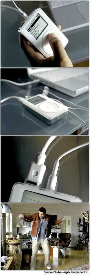 Scenes from an Apple Computer  promotional video showed the pocket-size 'iPod,' a hard disk MP3 music player, being put through its paces by a music enthusiast. Source images: Apple Computer Inc., SF Gate Staff Photo Illustration
