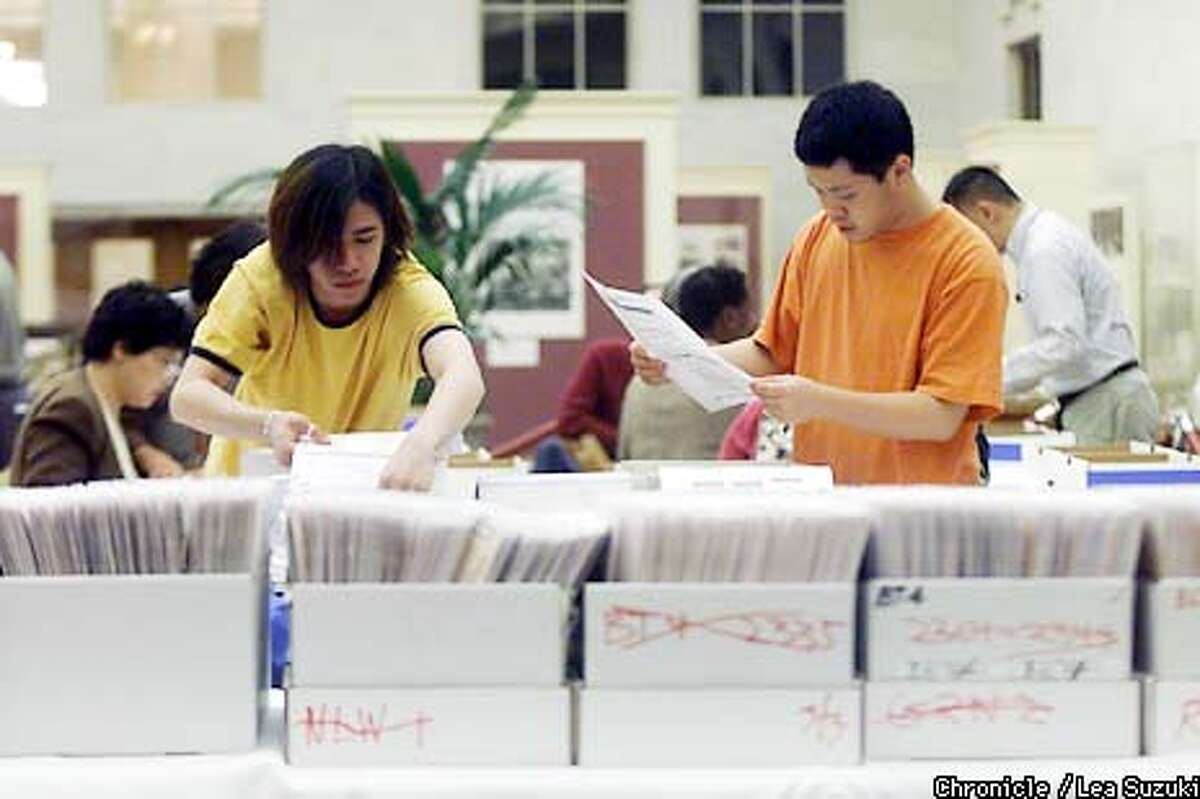 From left: Remake monitors, Andrew Lei and Regan Huang, match paper ballots and damaged ballots with the correct duplicate ballots by party and ballot type in the South Light Court at City Hall. Ballot Remake Procedures. The Department of Elections will always try to determine the voter's intent on questionable and damaged ballots. Ballots requiring duplication are those that cannot be read by the tablulating equipment for whatever reason. Per California Elections Code, all ballots that cannot be read by the vote count machine will be remade if the voter intent can be clearly determined. This involves DOE staff working in two person teams to determine the voter's intent and remake ballots to ensure the votes may be accurately read by the vote count machine. The original ballot is kept and cross referenced with the remade ballot. Photo by Lea Suzuki/SAN FRANCISCO CHRONICLE