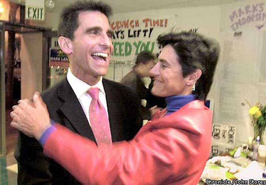 ASSEMBLY06B-05MAR02-MT-JRS-Mark Leno running for State Assembly hugs his sister Jamie Leno at his campaign headquarters in San Francisco after the polls closed. Chronicle Photo by John Storey.