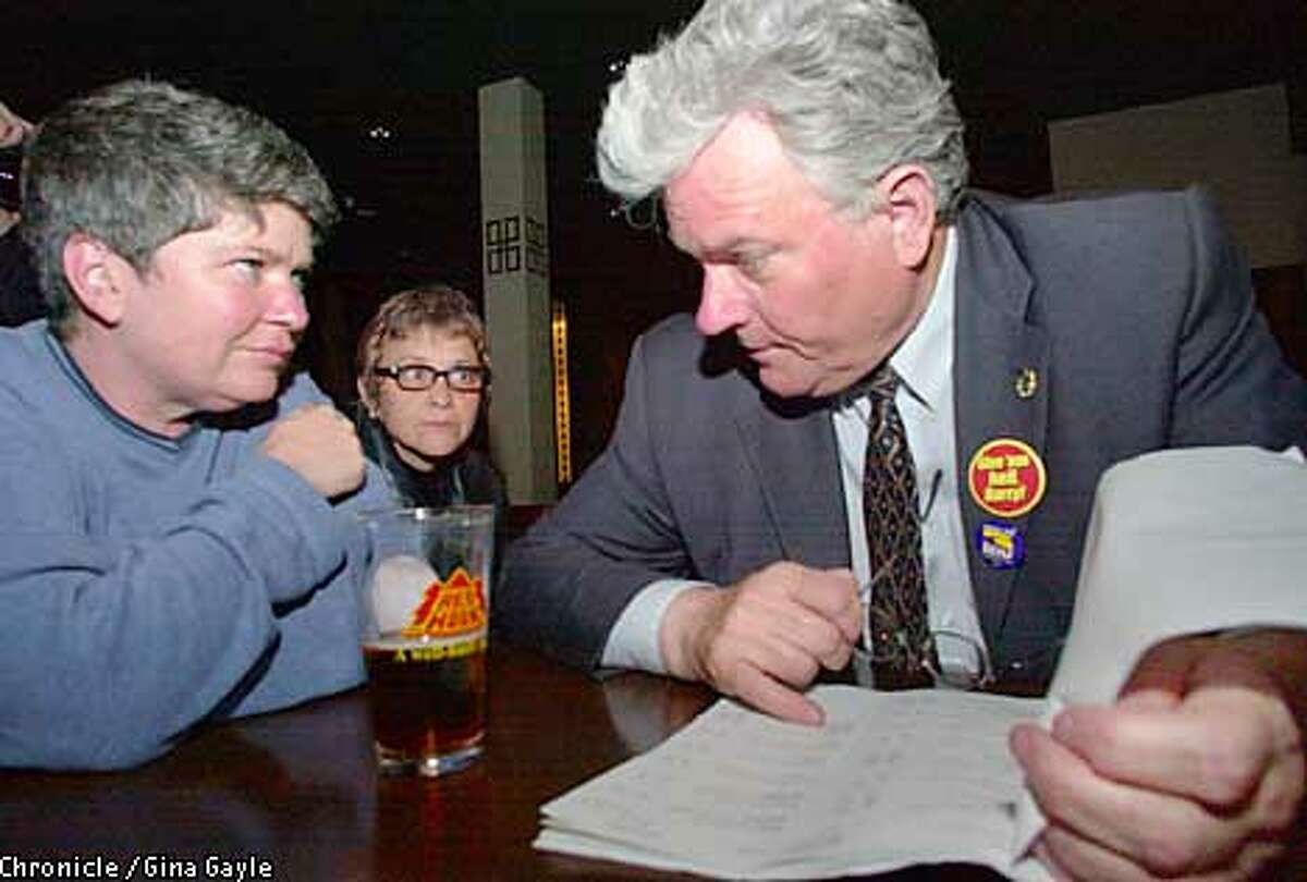 Candidate Harry Britt goes over early absentee ballot votes with campaign manager Robert Haaland (L) as treasurer Debra Walker looks on in background as they await election results at Temple Bar. Photo by Gina Gayle/The SF Chronicle.