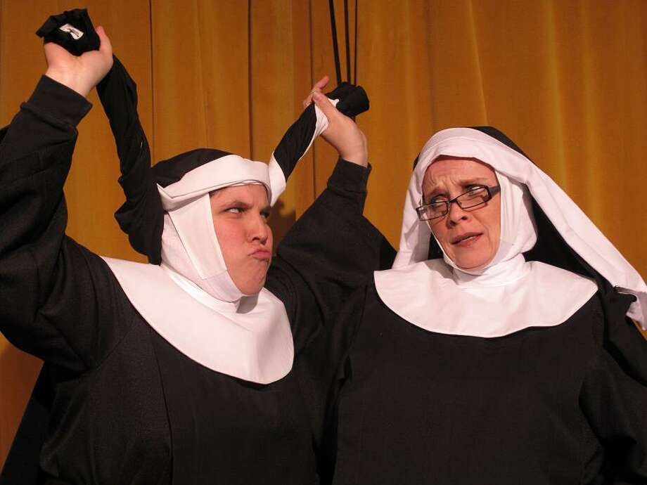 """Robin Williams (left) plays Sister Robert Ann and Joy Lindsey is Reverend Mother in """"Nunsense."""" Photo: Courtesy, Circle Arts Theatre"""