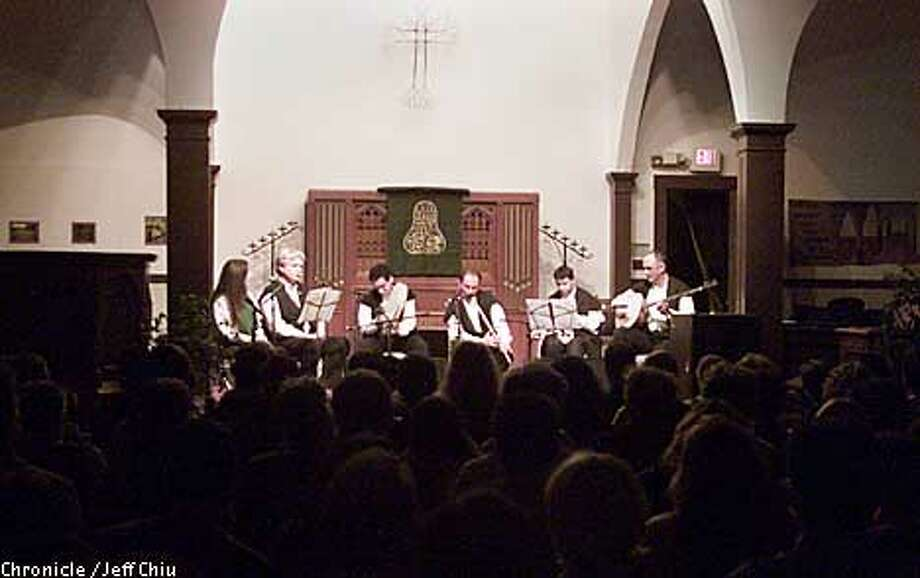 From left: Sufi writers and translators Camille and Kabir Helminski, join Sufi musicians Daud Jerrahi on bendir, Salih Bilgin on ney, Cengiz Onural on kemence, and R. Hakan Talu on tanbur, during a Sufi recital put on by Golden Horn Records at The Noe Valley Ministry in San Francisco on Friday night. Photo by Jeff Chiu / The Chronicle. Photo: Jeff Chiu