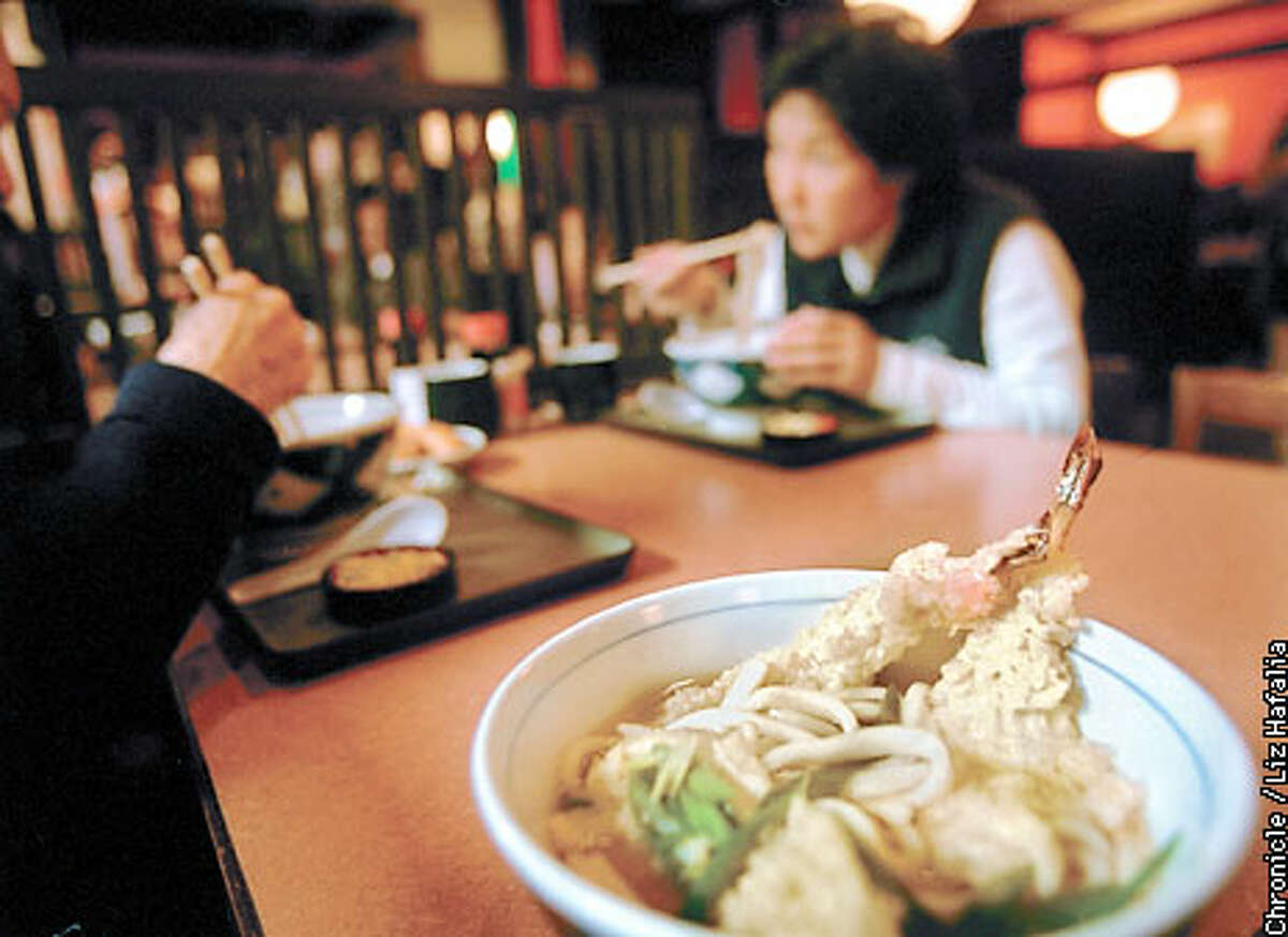 Eggless wheat udon noodles, served with shrimp tempura at Mifune restaurant in the Japan Center. Chronicle photo by Liz Hafalia