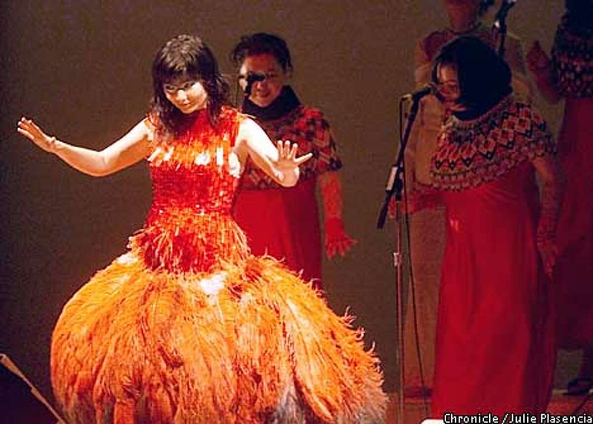 Icelandic pop star Bjork brings her orchestral trip-hop to town at a sold out show in Oakland's Paramount Theatre. (JULIE PLASENCIA/SAN FRANCISCO CHRONICLE)