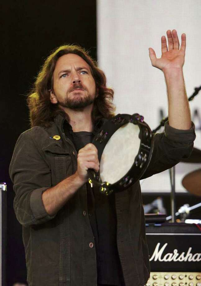 Eddie Vedder of 'Pearl Jam' performs on stage at the Make Poverty History concert at the Sidney Myer Music Bowl on November 17, 2006 in Melbourne, Australia.  Photo: Kristian Dowling, Getty Images / 2006 Getty Images