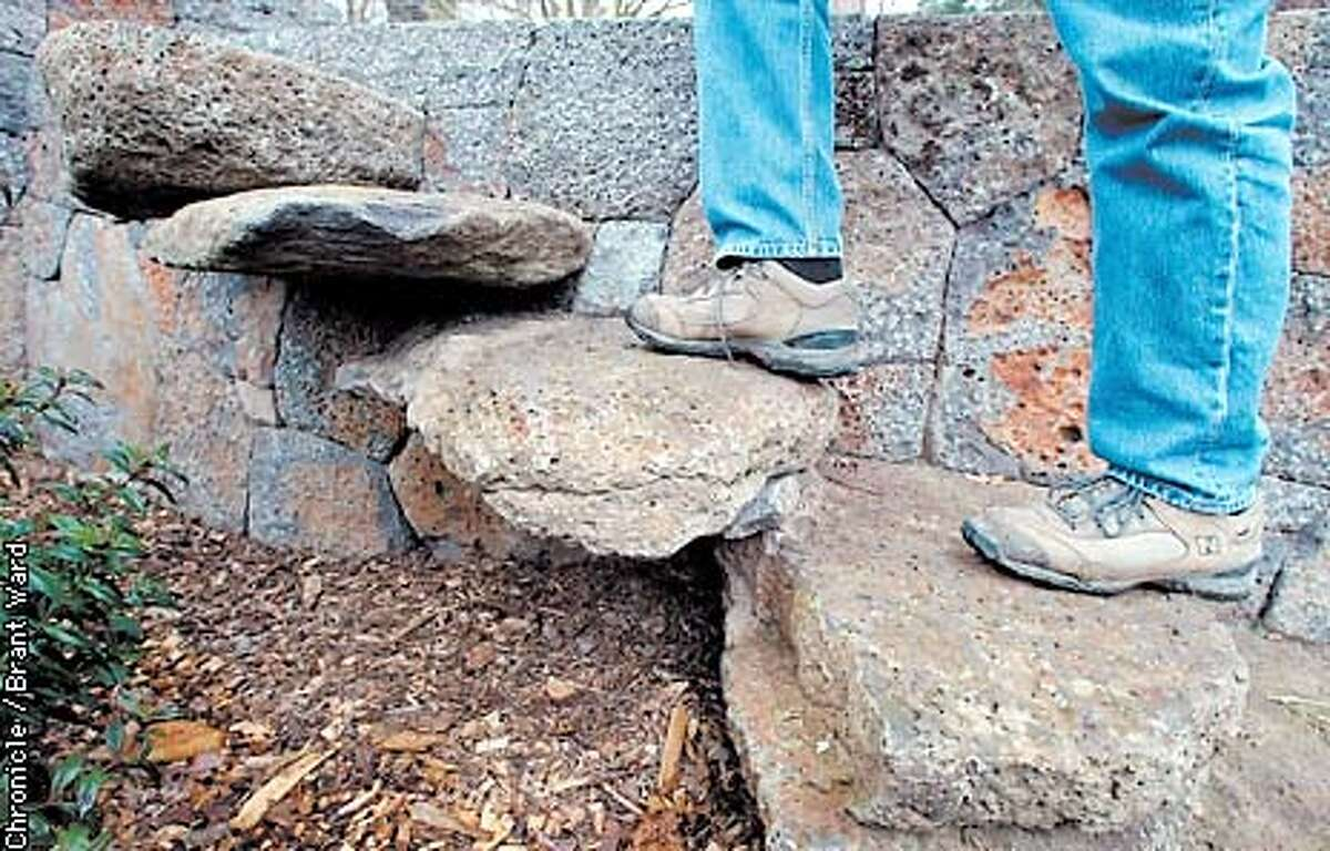One of the features of George Gonzalez stone walls are the steps he builds into it for gardeners and others to get over the walls at the McEvoy ranch. By Brant Ward/Chronicle