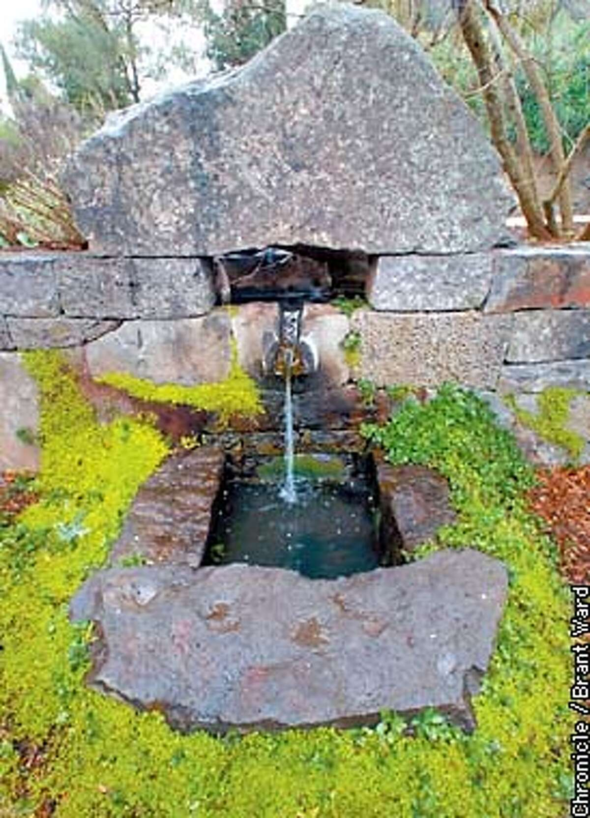 A stone fountain built by George Gonzalez on the McEvoy ranch features artistic and tight-fitting stones. By Brant Ward/Chronicle