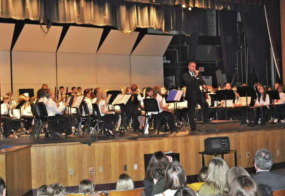 The program opened with Christopher Coulter directing the fifth grade band through nearly a dozen short songs. Photo: Contributed Photo