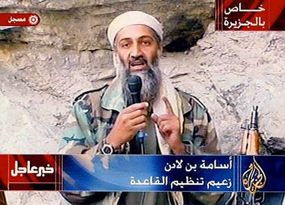 OSAMA BIN LADEN'S TAPED STATEMENT PLAYED OCTOBER 7, 2001 ON AL-JAZEERA SATELLITE NETWORK Photo: HANDOUT