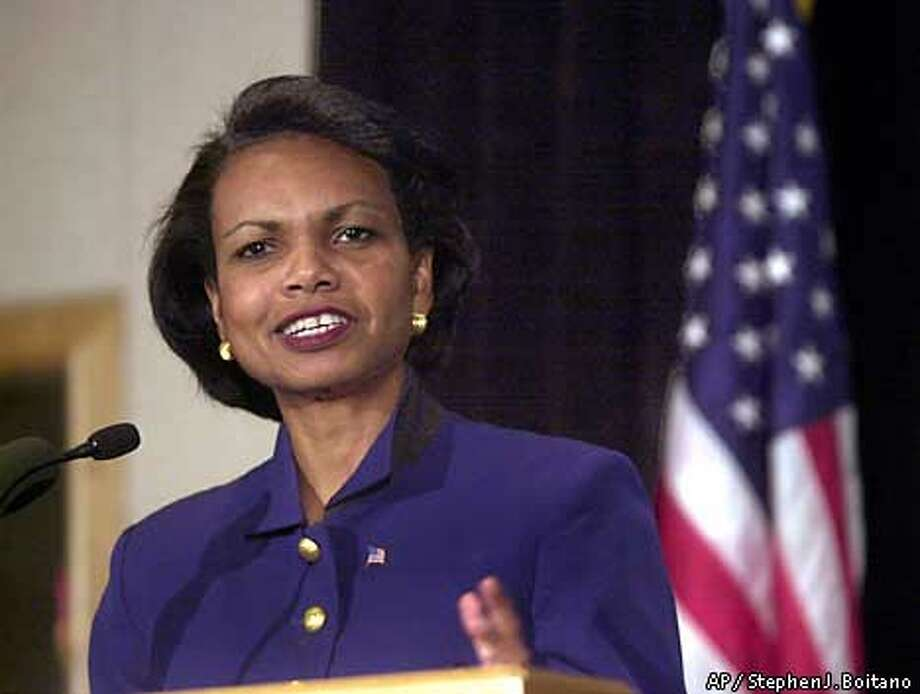 National Security Adviser Condoleezza Rice talks about Russia during an address before the U.S.-Russia Business Council in Washington Thursday, Oct. 4, 2001. Rice said that faced with a common danger, terrorism, the United States and Russia are recasting their relationship in a way that would have been unthinkable during the Cold War, (AP Photo/Stephen J. Boitano) Photo: STEPHEN J. BOITANO