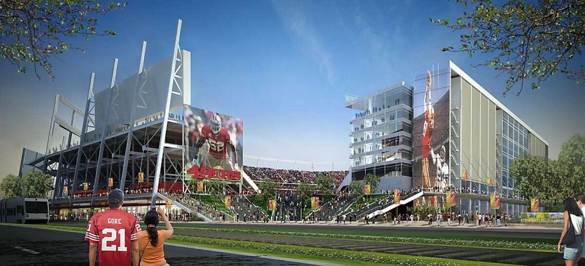Rendering of proposed San Francisco 49ers stadium in Santa Clara as would be viewed from Tasman Drive.