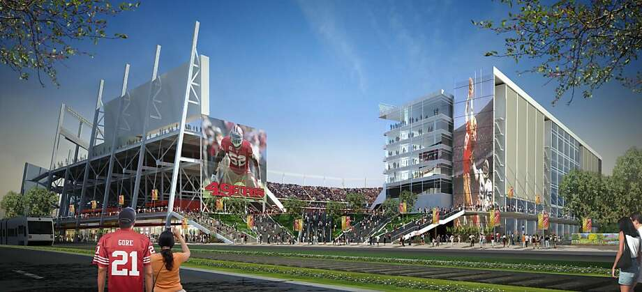 Rendering of proposed San Francisco 49ers stadium in Santa Clara as would be viewed from Tasman Drive. Photo: San Francisco 49ers