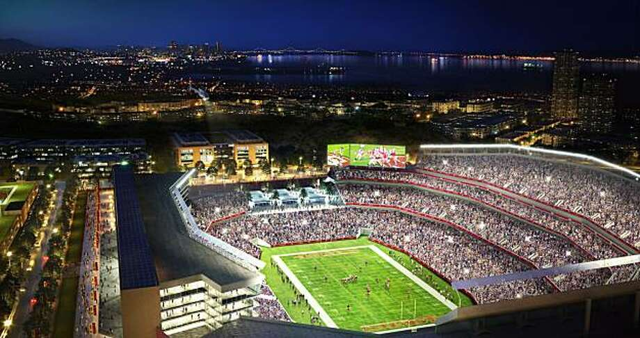 An artist's rendering of a proposed San Francisco 49ers stadium at a redeveloped Hunters Point. The team is pursuing a new stadium in Santa Clara, but Mayor Gavin Newsom is trying to convince them to remain in San Francisco. Photo: Courtesy Of Lennar Urban, Transparent House