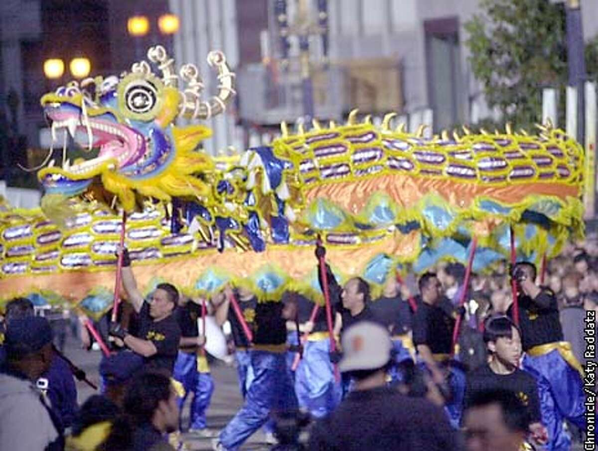 Photo by Katy Raddatz--The Chronicle Chinese New Year Parade, coming up Geary, taking a right turn on Polk.