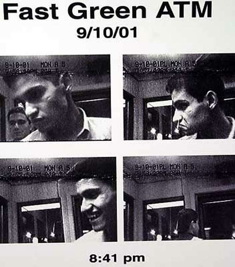 The FBI, released fresh details Thursday , Oct. 4, 2001, in Portland, Maine about the activities of Mohamed Atta and Abdulaziz Alomari, who were in the greater Portland area on the night before the Sept. 11 terrorist attacks. Surveillance video captured hijackers at two ATMs, a gas station and a Wal-Mart in the Portland area hours before the two boarded a commuter flight that linked up with one of the jetliners that crashed into the World Trade Center. The FBI encouraged anyone who may have seeen them to call in details. (AP Photo/Pat Wellenbach) Photo: PAT WELLENBACH