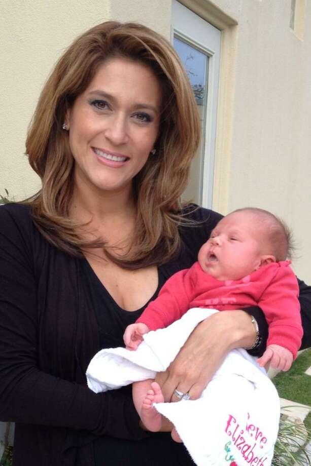 KENS-TV co-anchor Sarah Lucero with new baby girl, Seve Elizabeth Calhoon. Photo: Courtesy Stetson Calhoon