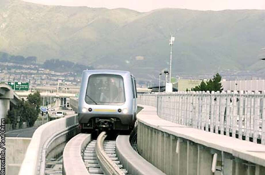 Officials testing the Airtrain system at San Francisco International Airport.  Photo by Paul Chinn/San Francisco Chronicle