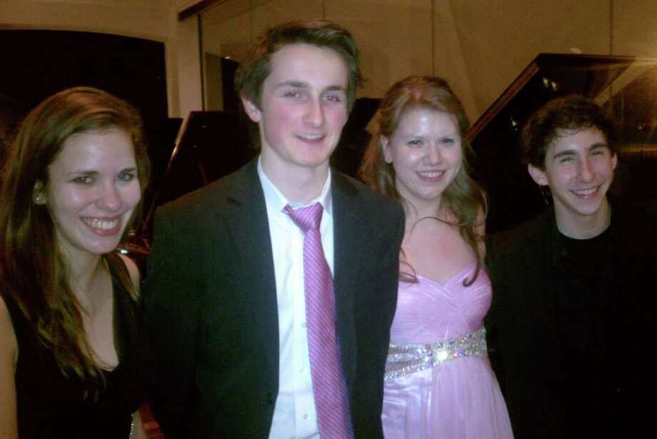 Lindsay Thompson (violin, honorable mention); Alex Beyer (piano, first place winner); Anatasia Dolak (violin, second place); and Samuel Weiser (violin, honorable mention). Photo: Contributed Photo