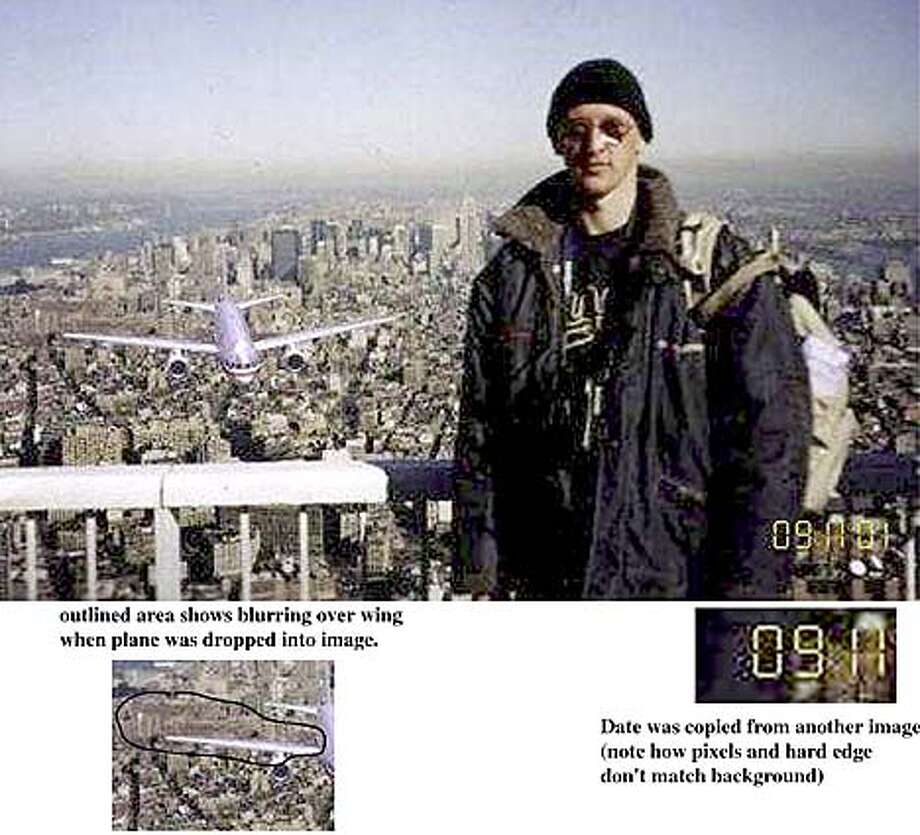 "HOAX-c-14SEP01-BUB-HO ----- This photo is being widely circulated on the internet. It purports to show a tourist on the North tower observation deck just before the first hijacked jet slammed into the WTC. Close examination of the photo reveals how two or three images were combined to make this ""picture."" Tipoffs:  1) Shadows on the plane don't quite match how the shadows fall on the person in foreground.  2) The North tower did not have an observation deck.  3) The date stamp in the lower right was obviously cut and pasted into his picture to show the 091101 date.  4) There are some pretty obvious ragged edges outlining the plane and the person that indicate they were dropped into his frame.  5) Blurred cloning of the background just over the wing at the far left of the picture indicate the digital manipulation. - Scott Sommerdorf Photo: Unknown"