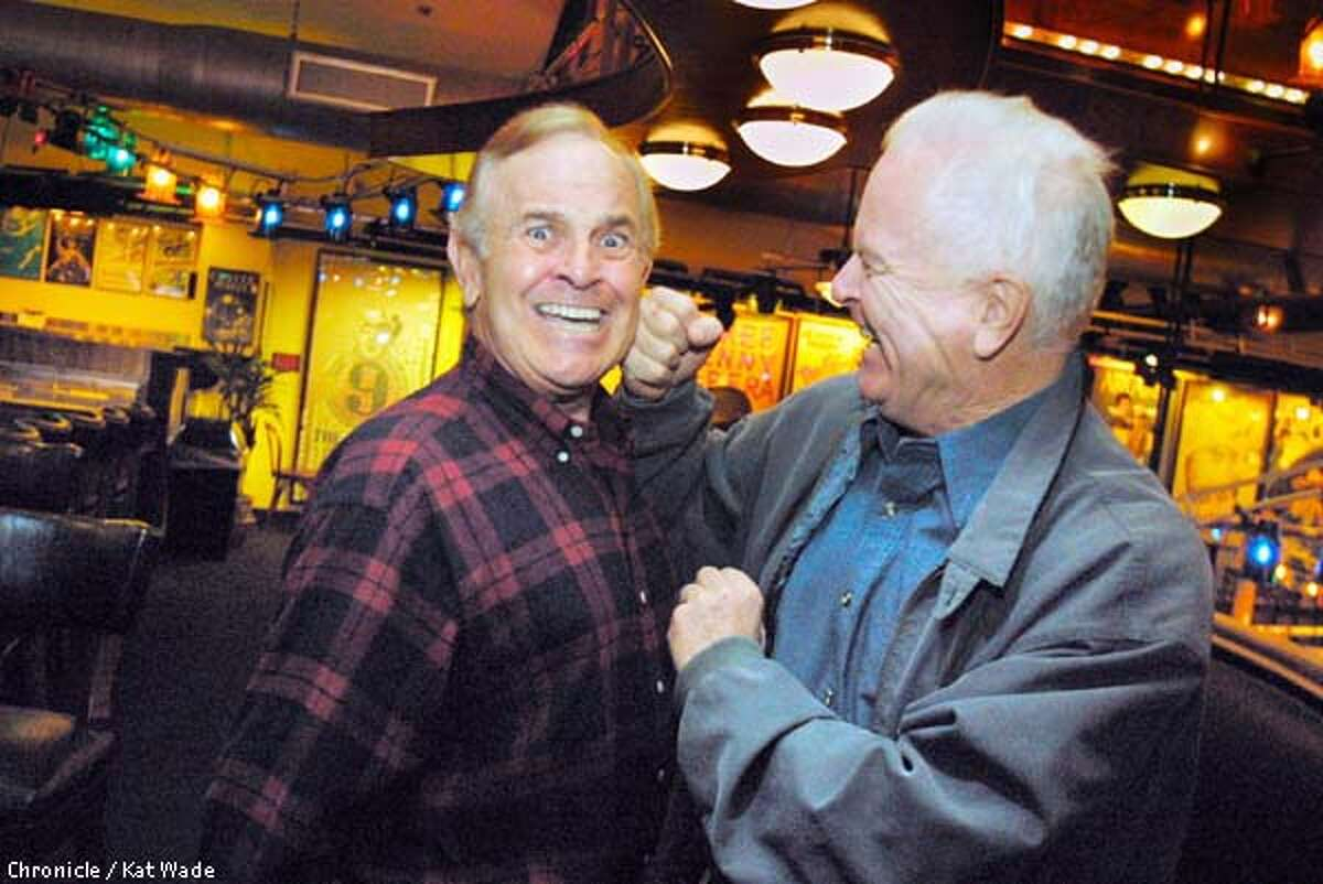 Gubernatorial candidate Richard Riordan (right) pulls a little slap stick with comedian Ronnie Schell at the bi-monthly meeting of Yarmy's Army, a group of comedians, writers and one former Mayor who eat and throw jokes around at Jerry's Famous Deli in Westwood. SAN FRANCISCO CHRONICLE PHOTO BY KAT WADE