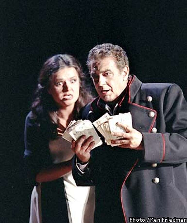 Galina Gorchakova as Lisa and Placido Domingo as Herman in the Los Angeles Opera production of The Queen of Spades. Photo Ken Howard 2001