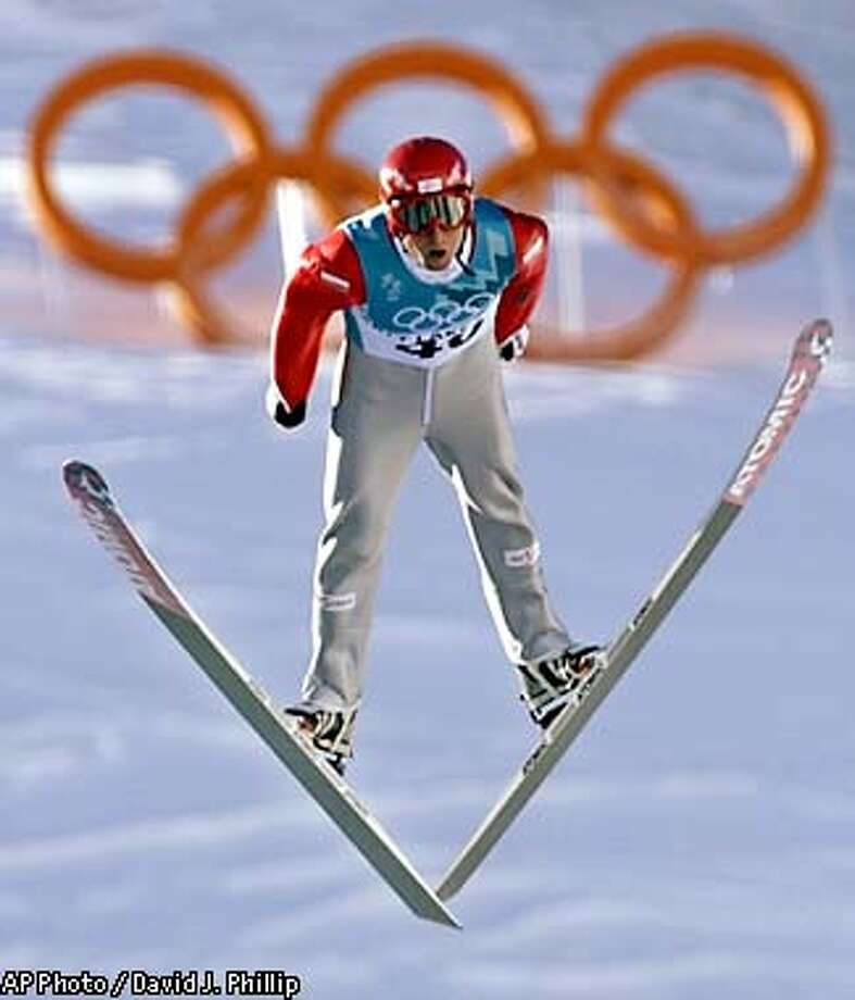 Mario Stecher of Austria competes during the Nordic Combined Individual K90 ski jump at the 2002 Salt Lake City Winter Olympics in Park City, Utah, Saturday, Feb. 9, 2002. (AP Photo/David J. Phillip) Photo: DAVID J. PHILLIP
