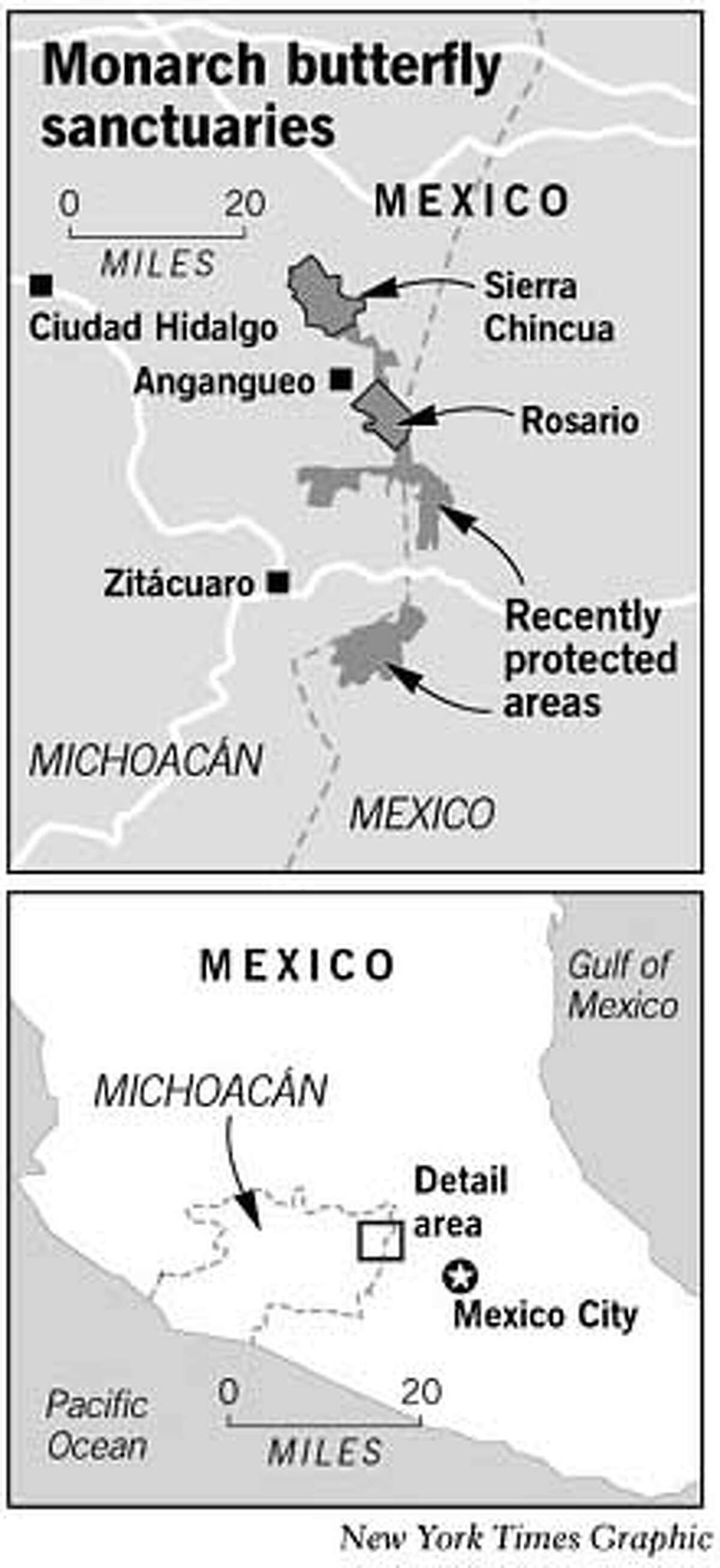 Monarch Butterfly Sanctuaries. New York Times Graphic