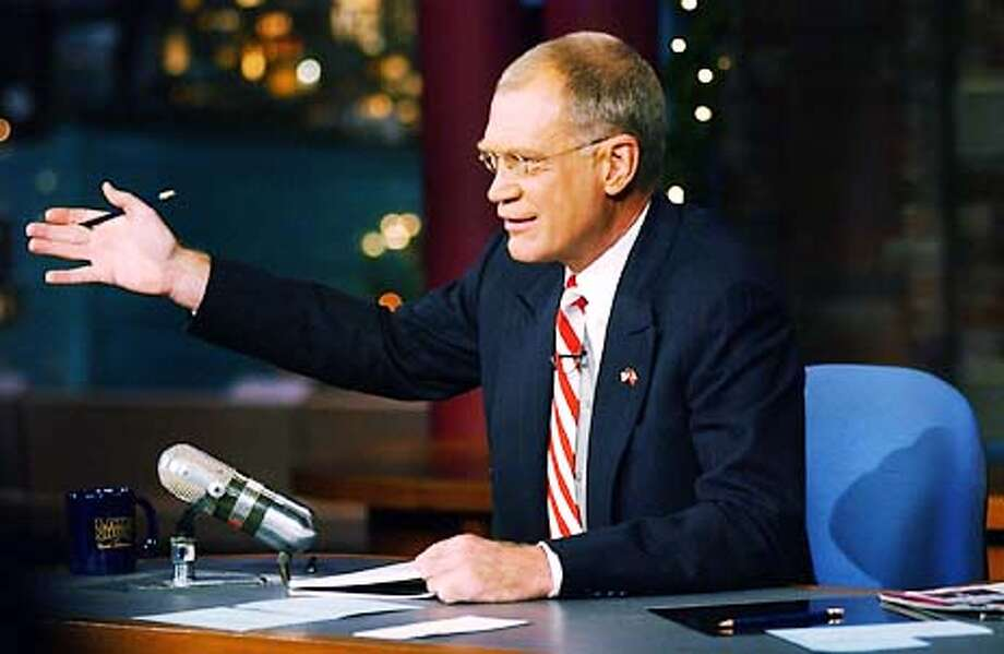 David Letterman wearing a US Flag lapel pin. Who will quit wearing it first, Leno or Letterman? HANDOUT. Photo: JOHN FILO