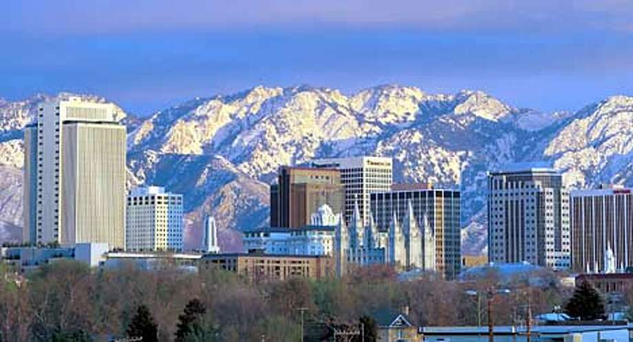 SLC skyline with Mormon temple. Credit LDS