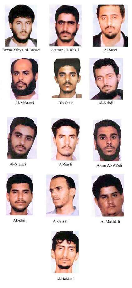 A group of 17 suspected terrorists, led by Fawaz Yahya al-Rabeei of Yemen (top left) may be plotting an imminent attack, the FBI fears