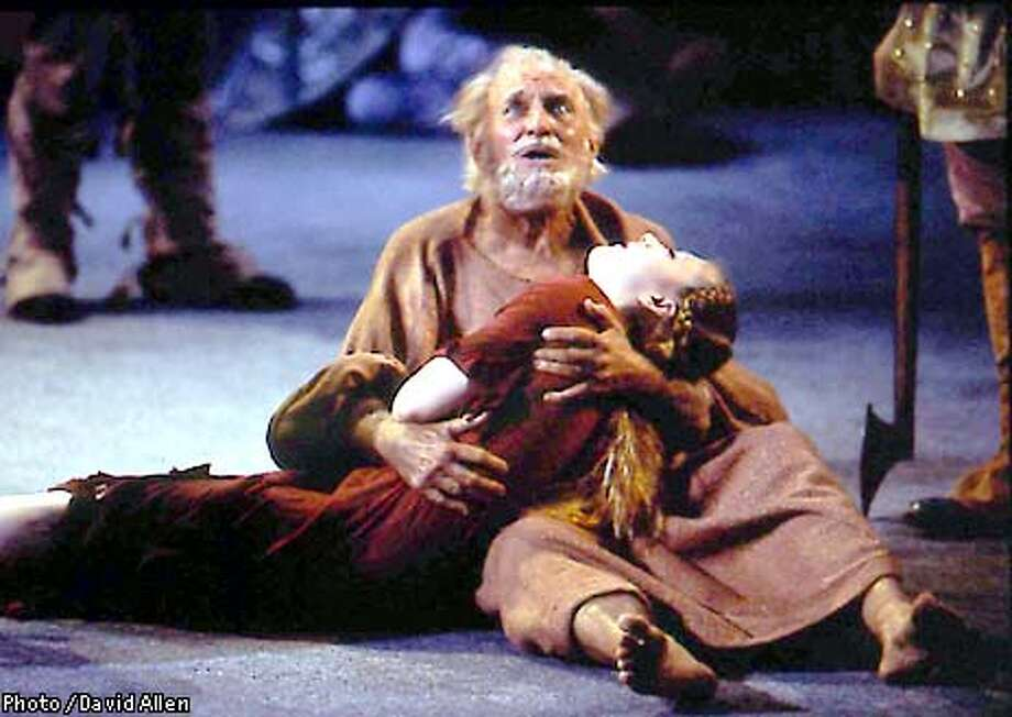 King Lear (Ray Reinhardt) cradles his daughter Cordelia (Shannon Barry) in KING LEAR, presented by the San Francisco Shakespeare Festival, through October 7 at the Ira & Leonore S. Gershwin Theatre, 2350 Turk Street, San Francisco. Photo credit is Photo / David Allen /Special to the Chronicle