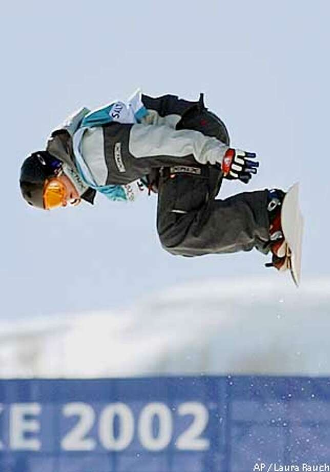 Kelly Clark of the U.S. competes in the Olympic finals on her way to win the gold medal in the women's halfpipe event in Park City, Utah on Sunday, Feb. 10, 2002. (AP Photo/Laura Rauch) Photo: LAURA RAUCH