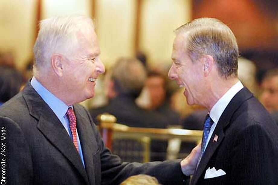 Gubernatorial Candidate and former Mayor of Los Angeles, Richard Riordan, (left) greets former Governor of California, Pete Wilson when they met at the Town Hall Breakfast with Laura Bush at the Century Plaza Hotel in Beverly Hills Tuesday morning. SAN FRANCISCO CHRONICLE PHOTO BY KAT WADE Photo: KAT WADE