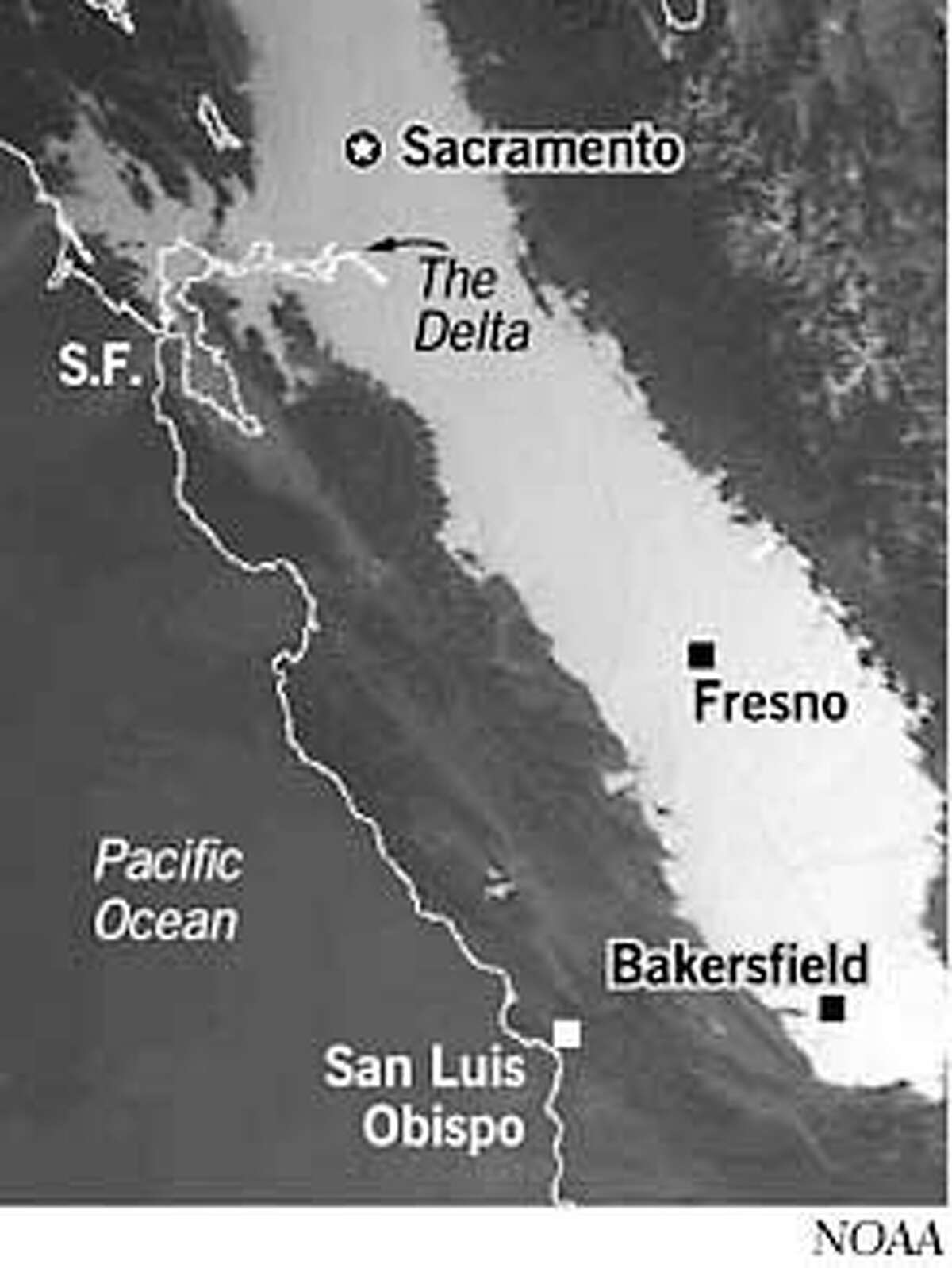 Tule fog blankets the Central Valley in this satellite photo taken in the early morning in January 1996. NOAA Graphic