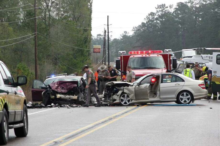 Two Hardin County women were critically injured in this two vehicle head-on collision on FM 418 west of Silsbee Tuesday morning. Both drivers, a 91-year-old Silsbee woman and a 24-year-old Saratoga woman, were transported to Christus St. Elizabeth Hospital in Beaumont. Photo: David Lisenby, HCN_accident13112