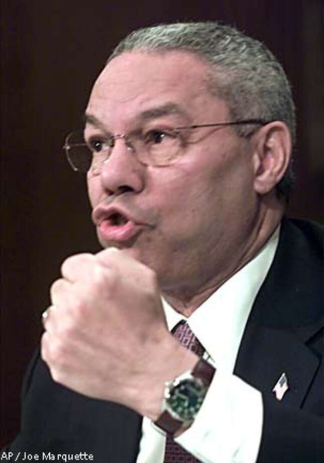 Secretary of State Colin Powell spoke before the Senate Foreign Relations Committee. Associated Press photo by Joe Marquette