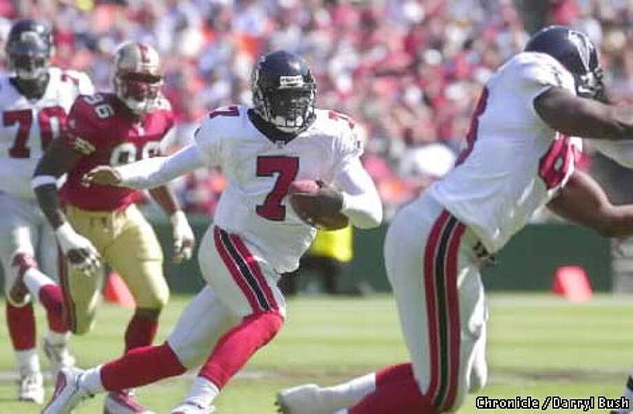 Atlanta rookie Michael Vick uncorked a 25-yard run against the 49ers in his debut. Earlier, he uncorked lip balm in the end zone. Chronicle photo by Darryl Bush
