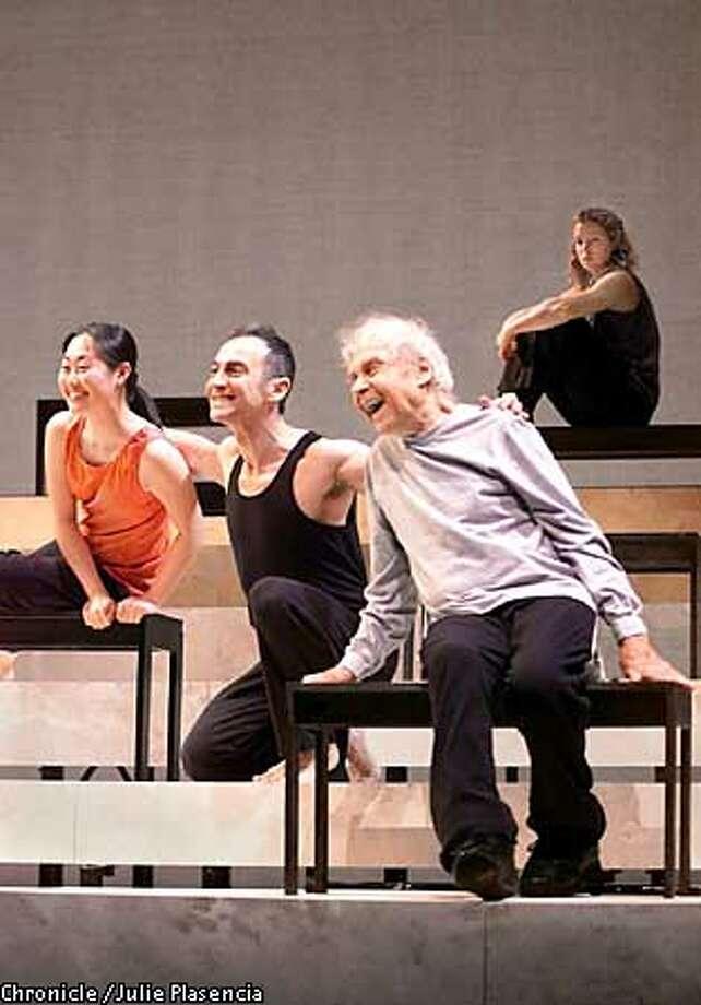 "Actors and dancers (left to right) Julia Cho, John Kelly and Merce Cunninghame perform in John Cage's dance-drama ""James Joyce, Marcel Duchamp, Erik Sati: An Alphabet"" Zellerbach Hall in Berkley. (JULIE PLASENCIA/SFC) Photo: JULIE PLASENCIA"