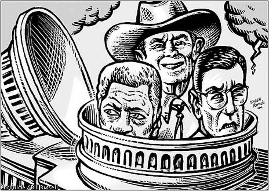 Politics as usual: Joan Didion needles Washington insiders for spinning the news. Chronicle illustration by Bill Russell