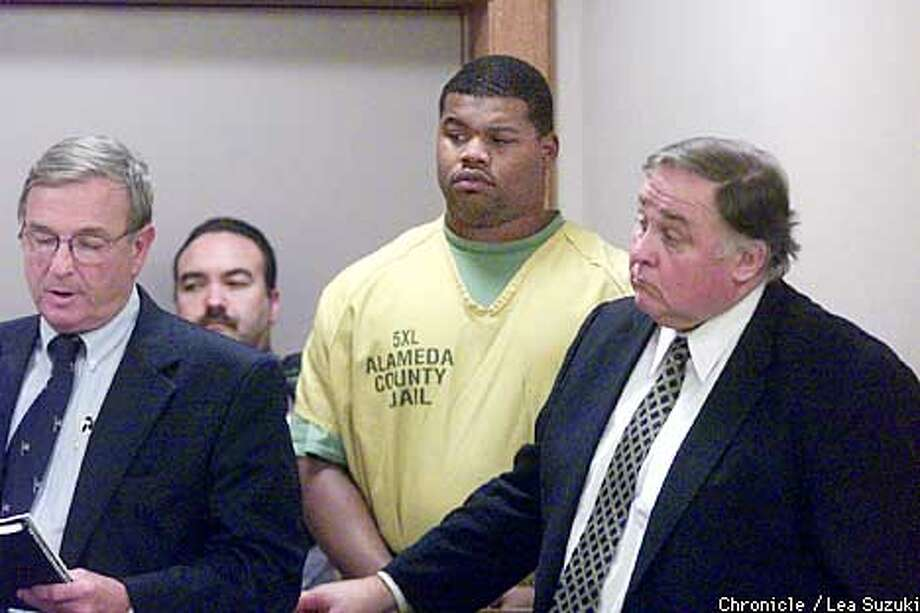 from left: Du Bois, Russell and Gibbs. From right: OAKLAND Raiders' Darrell Russell along with Ali Hayes and Naeem Perry are charged and arraigned today with sexual assault for allegedly drugging a woman and assaulting her in an Alameda home last week. Russell attorney is Anthony Gibbs, Hayes attorney is William Du Bois, Perry attorney is Larry Ward. Photo by Lea Suzuki/SAN FRANCISCO CHRONICLE Photo: LEA SUZUKI
