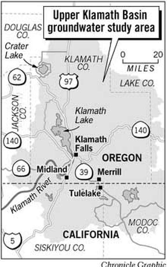 Upper Klamath Basin Groundwater Study Area. Chronicle Graphic
