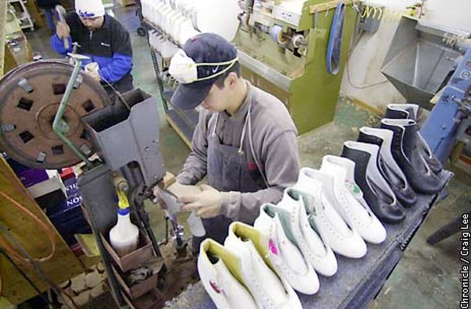 Photo of Salvador Martinez putting heels on the boots. George Spiteri and his father, Joseph Spiteri, ice skating boot makers at their shop, SP-Teri, in South San Francisco.  Photo by Craig Lee/San Francisco Chronicle Photo: CRAIG LEE