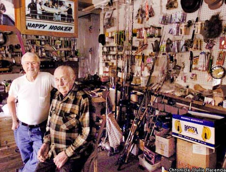 Grover Puckett (LEFT)and his best friend and nephew-in-law, Joe Pickup (right), were looking for peace of mind when they retired, Puckett from his job as a butcher for Safeway, and Pickup from his job as a ramp supervisor for American Airlines. So they started a business in Puckett's garage in Richmond, building and repairing custom fishing rods.  (JULIE PLASENCIA/SFC)  (JULIE PLASENCIA/SFC) Photo: JULIE PLASENCIA